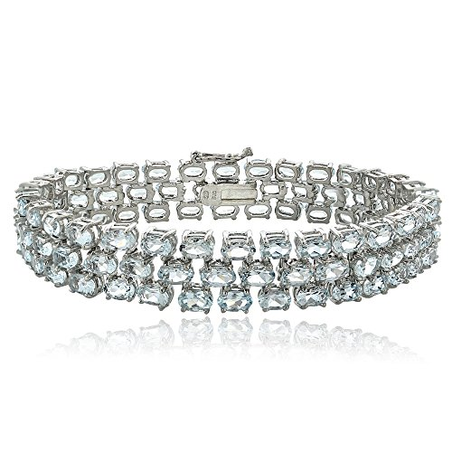 Ice Gems Sterling Silver Genuine Light Aquamarine Three Row Tennis Bracelet