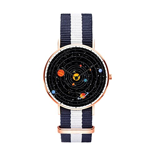 Mens watches, Boys Unique Rose Gold Wrist Watch Thin Japanese Quartz Watches With Nylon Strap Analog Waterproof and Minimalism Design for Youths, Fit all Wrist Size.- Solar System by FELOOWSE