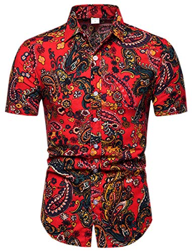 (Men's Casual Floral Pattern Button Up Short Sleeve Shirt Tops, 8#Color)