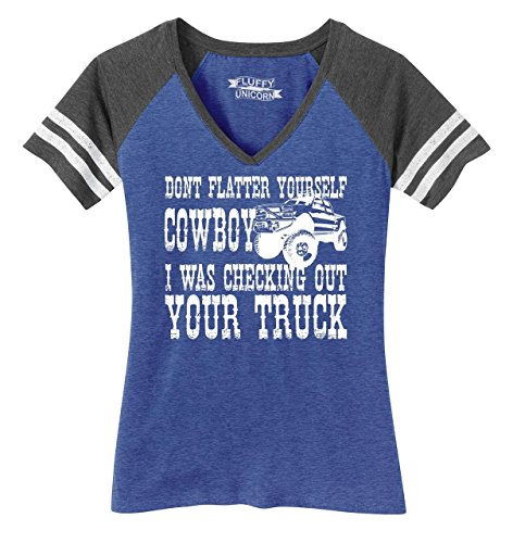 Cowboy Womens T-shirt V-neck (Comical Shirt Ladies Game V-Neck Tee Don't Flatter Yourself Cowboy I was Looking at Your Truck Heathered True Royal/Heathered Charcoal XL)