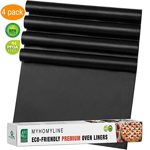 Oven Liners for Bottom of Electric Gas Oven - 4Х Large Nonstick Stove-top Oven Liners - Heavy Duty Reusable Oven Floor Protector Liner - BPA Free - Heat Resistant Oven Bottom Mat - Oven drip mats