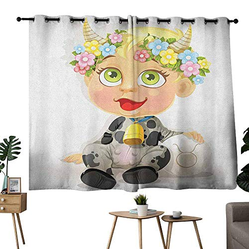 Windshield Curtain Zodiac Taurus Happy Baby with Little Horns and Flowers Cow Bell and Costume Kids Cartoon Multicolor Tie Up Window Drapes Living Room W63 xL45 -