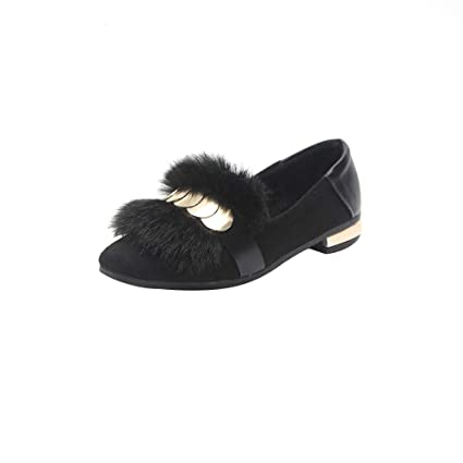 LuckyGirls Zapatos de Guisantes para Mujer Lentejuelas Piel Zapatillas Planos Calzado Mocasines Náuticos