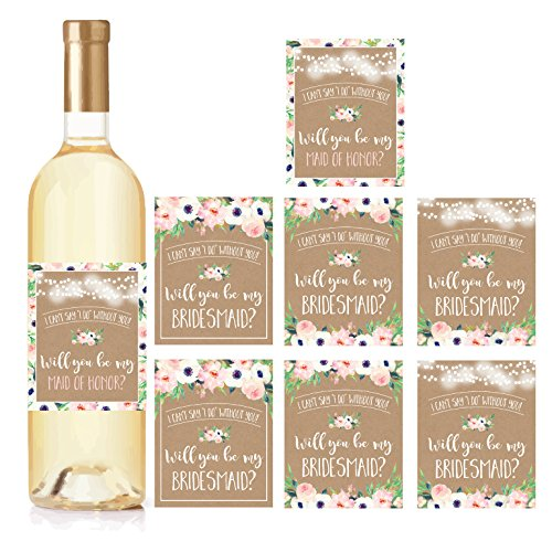 Kraft Floral Will You Be My Bridesmaid Stickers or Wine Bottle Labels, Bridal Party Favors, Maid of Honor Proposal Ideas, Ask Your Bridesmaids To Be in Wedding Gifts, I Cant Say I Do Without You