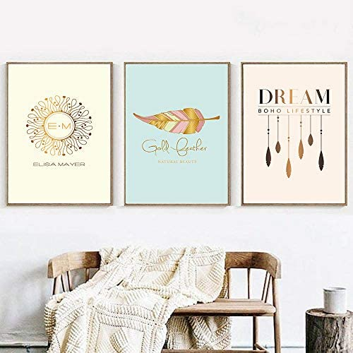 3 Sets 16x24 inch Umframed Art Home Decor Boho Style Canvas Painting Wall Picture Feather Dreams Printing Posters Wall Pictures for Living Room DJ12 (40X60CM - 3 PCSSet-No Frame) / 3 Sets 16x24 inch Umframed Art Home Decor Boho Sty...