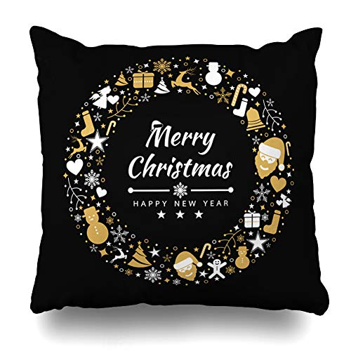 Ahawoso Throw Pillow Cover Red Green Angel Merry Christmas Holidays Abstract Gold Bell Berry Border Bow Candy Design Vintage Decorative Zipper Cushion Case Square 20