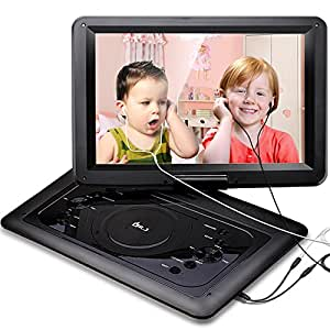 DR.J 14.1 inch 7 Hours Portable DVD Player, with Build-in 6000mAh Rechargeable Battery, 270°Swivel Screen, 5.9 ft Car charger and Power supplier, SD Card Slot and USB Port ( 2 x Earphones )