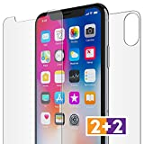 FlexGear iPhone X Front Back Glass Screen Protectors, Premium Clear, Compatible w iPhone X (2-Pack)