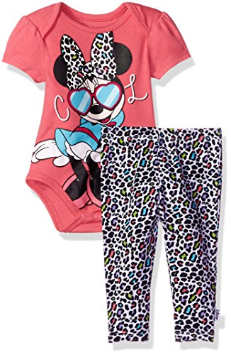 Disney Baby Girls' Minnie Mouse 2-Piece Bodysuit and Pant Set, Camellia Rose, (2 Piece Disney Minnie Mouse)