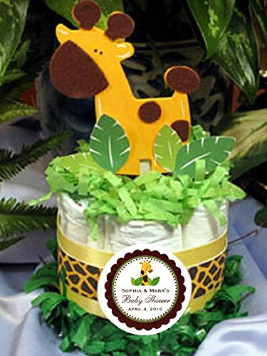 Baby Giraffe Jungle Safari Mini Diaper Cakes - Handmade By LMK Gifts - Makes a Great Baby Shower Centerpiece