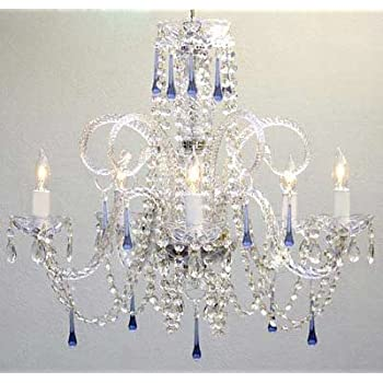 AUTHENTIC ALL CRYSTAL CHANDELIER CHANDELIERS WITH BLUE CRYSTALS - Chandelier crystals blue
