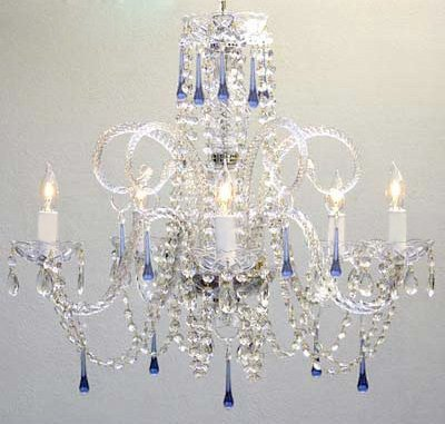 staircase lamp chandelier large blue lighting for personality glass item modern foyer hotel crystal long italy