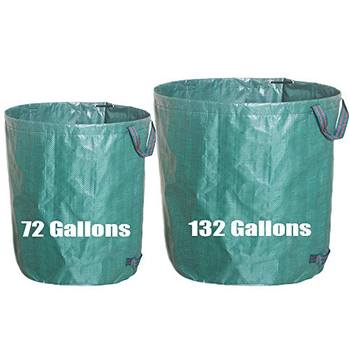 72&132 Gallons Garden Waste Bag/Large & Strong Heavy Duty Gardening Containers/Reusable Yard Lawn Leaf Bags (2-Pack,Green)