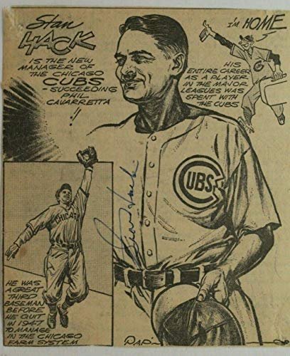 Stan Hack (d.79) Chicago Cubs Autographed Signed 6x6 Newspaper Comic Page JSA from city-autograph