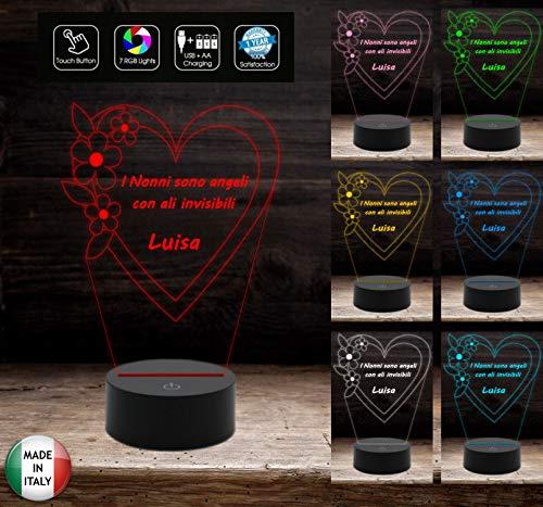 LAMPADA LED 7 colori selezionabili Festa dei nonni Regalo originale Cuore con frase personalizzabile Luce da notte da tavolo arredo casa home