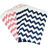Outside the Box Papers Light Pink and Navy Blue Chevron Treat Sacks 5.5 x 7.5 48 Pack Navy Blue, Pink, White