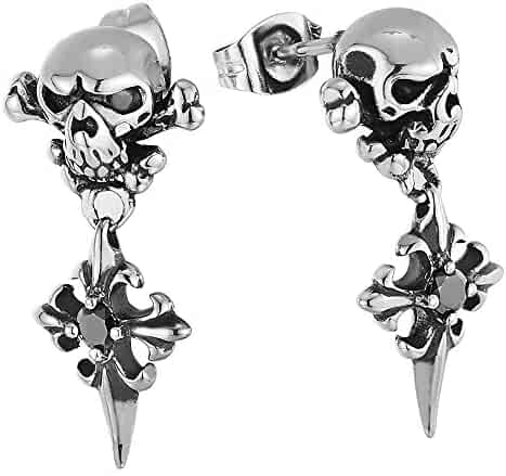 abe243bf6 Mens Vintage Steel Pirate Skull Stud Earrings with Dangling Spiked Cross  and Black CZ, Gothic