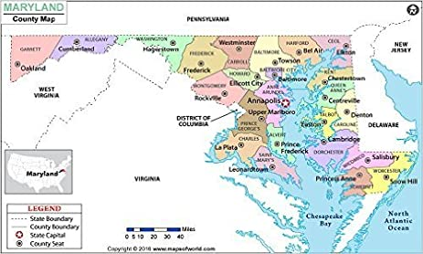 Amazoncom Maryland County Map Laminated 36 W x 215 H