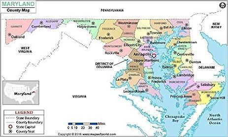 Amazoncom Maryland County Map Laminated 36 W x 215 H