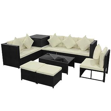 Amazon Com Daonanba Durable Garden Sofa Set Poly Rattan Lounge Set