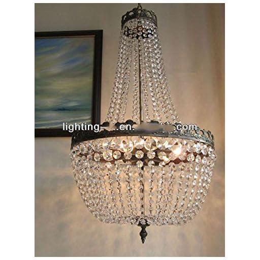 Lumos French Empire Antique Bronze 5 light Crystal Chandelier Ceiling Pendant Lighting Fixture Lamp for dining room, Living room, Foyer, Lobby, Hallway
