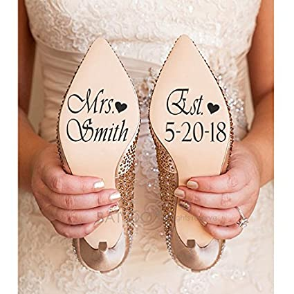 b48613926dcf Amazon.com  BATTOO Name and Date Wedding Shoe Sticker Decals