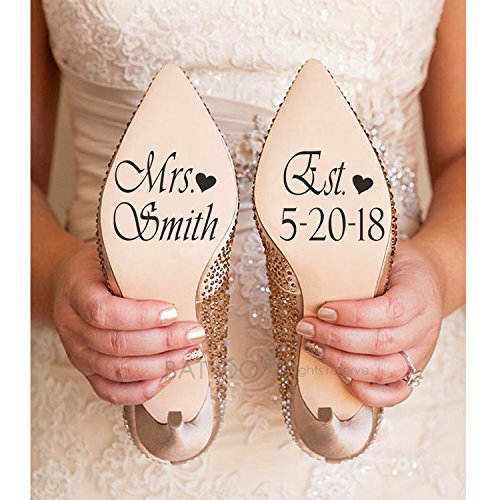 BATTOO Name and Date Wedding Shoe Sticker Decals, Bride and Groom Wedding Decorations,Bridal Shoe Decal PLUS free hello door decal