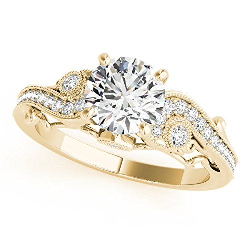 MauliJewels 1/2 Ct. Halo Antique Engagement Diamond Ring In 14k Yellow Gold