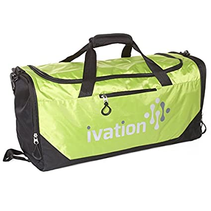 48d8c154b5db Ivation Sports Gym Duffel Bag 100% Water Repellent Polyester Ideal for Gym  Fitness Camping Track Traveling & More Bright Yellow/Lime