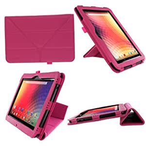 rooCASE Origami Dual-View (Magenta) Vegan Leather Folio Case Cover for Google Nexus 10 - Support Landscape / Portrait / Typing Stand / Auto Sleep and Wake