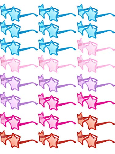24 Pieces Star Shaped Sunglasses Kids Star Sunglasses Neon Color Party Favors -