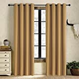 Alice Brown Solid Thermal Insulated Blackout Window Curtains/Draperies/Panels for Bedroom/Living Room/Sliding glass doors Top Fation Grommet by (2 Panel,W52 x L84 –Inch,Cappuccino) For Sale