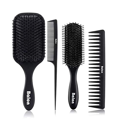 4Pcs Paddle Hair Brush, Detangling Brush and Hair Comb Set for Men and Women, Great On Wet or Dry Hair, No More Tangle Hairbrush for Long Thick Thin Curly Natural Hair