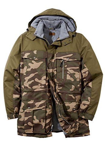 Hooded Mens Outerwear (Boulder Creek Men's Big & Tall Colorblock Expedition Hooded Parka, Olive Camo)