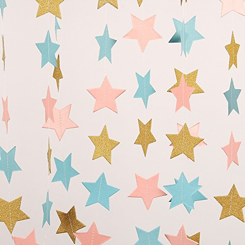ZOOYOO Paper Five-Pointed Star Garland Dots Hanging Decor, Five-Pointed Star Event & Party Supplies,2 high,9.8-feet Golden Light Blue Pink,2pcs