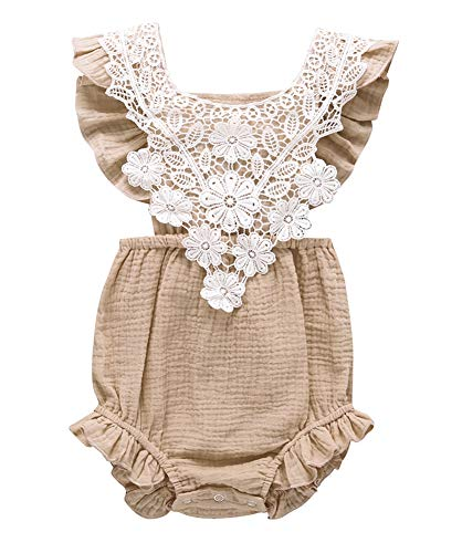 - Infant Baby Girl Lace Ruffle Backless Romper Cotton One-Piece Bodysuit Outfits (Khaki, 70/Fit 6M)