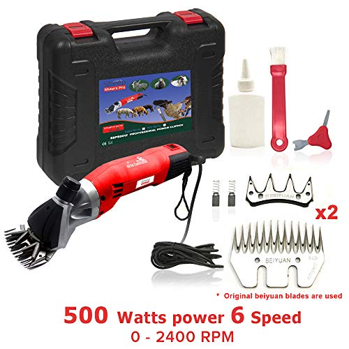 Sheep Shears Pro 110V 500W Professional Heavy Duty Electric Shearing Clippers with 6 Speed, for Shaving Fur Wool in Sheep, Goats, Cattle, and Other Farm Livestock Pet, with Grooming Carrying Case CE (Best Clippers For Shearing Angora Goats)