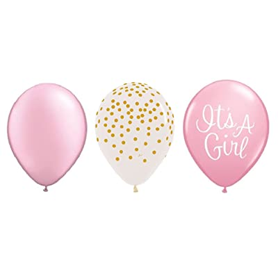 DalvayDelights 15 Count 11 inch Pearl Pink, Confetti Clear Gold DOTS & It's a Girl Pink Baby Shower Party Latex Balloons: Toys & Games