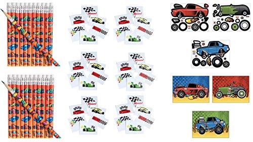 AWESOME RACE CAR Party Favors - 180 Pieces ~ 2 Dozen (24) Wooden Race Car Pencils ~ 144 Racing Theme Tattoos & 12