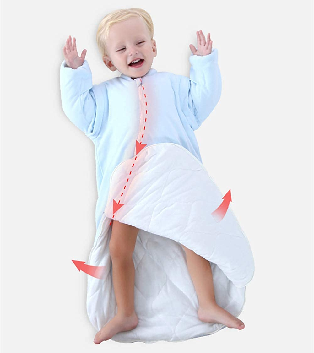 EsTong Unisex Baby Cotton Sleeper Gowns Toddler Wearable Blankets Long Sleeve Sleeping Bag Sack Yellow 2.5tog M