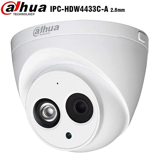 Dahua 4MP Dome Camera IPC-HDW4433C-A 2.8mm PoE IP Security Camera Outdoor Indoor Network Surveillance IP Camera with Audio, Built-in Mic, 164ft 50M IR Night Vision, H.265 WDR, ONVIF, IP67 Dome