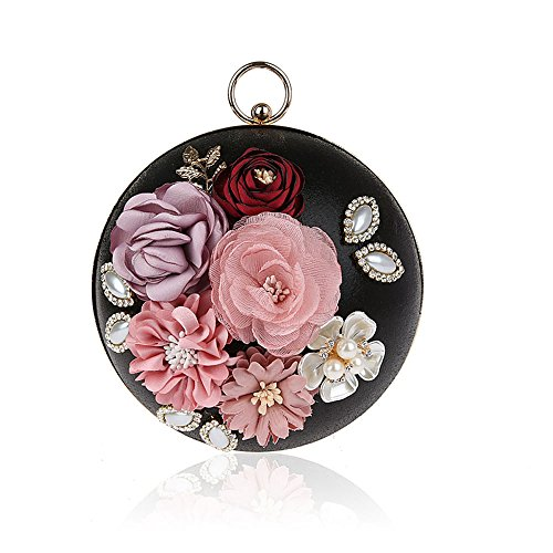 Flower 2017 Clutch Wedding Handbag Evening Banquet Wedding with Black Bag Purses Clutch Chain Fashion Party Metal Floral Prom Bags Eleoption Spherical for A4xqgvvF