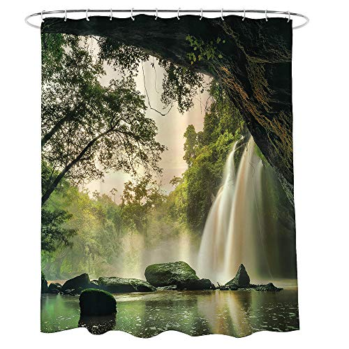 Becan Nature Waterfall Shower Curtain Canyon Caves View of Forest Falls Jungle Rocky Scene Polyester Fabric Waterproof Layer Thickening Shower Curtain 72X72Inches (Waterfall Shower Curtain)