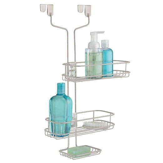 mDesign – Organizador de Ducha para Colgar sobre la mampara – Práctico Estante para Ducha de Metal con cestas Regulables – Cesta de Ducha sin Taladro para Tus Productos de higiene Personal: