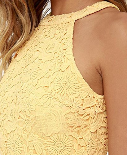 Yellow Party Coolred Halter Mini Sleeveless Hollow Solid Women Lace Dress wpFqz