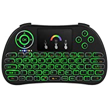REDGO 2017 Newest P9 2.4Ghz Wireless Keyboard with Colorful Backlit, Mini Keyboard Remote Controls with Touchpad Mouse for Smart TV, Windows PC, Android TV Box, HTPC, IPTV, XBOX 360, PS3, PS4