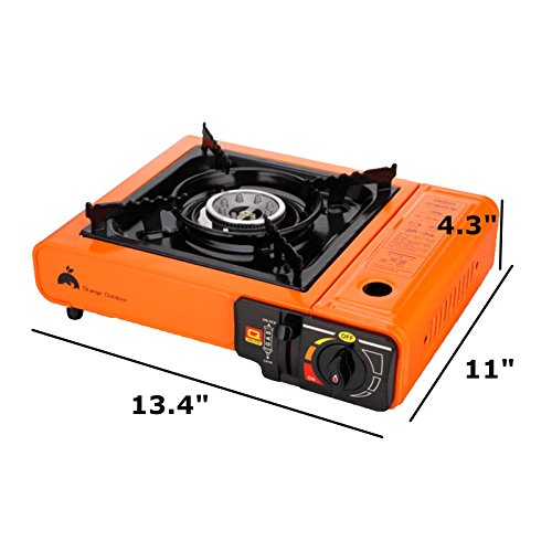 Portable Propane Butane Stove Outdoor Picnic Camping Gas Burner Cooktop Range (Orange)