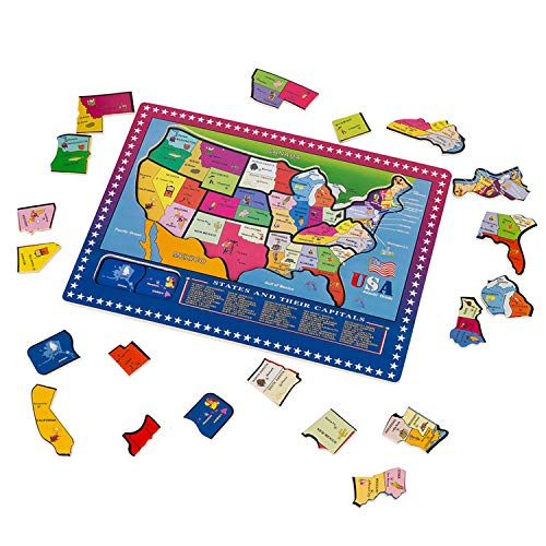 (Wondertoys 21 Pieces Wooden USA Map Puzzle Educational Geography Jigsaw Puzzle Toys Kids )