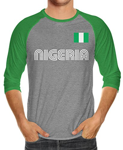 SpiritForged Apparel - Playera de fútbol de Nigeria, Unisex, 3/4, Kelly/Heather, Medium