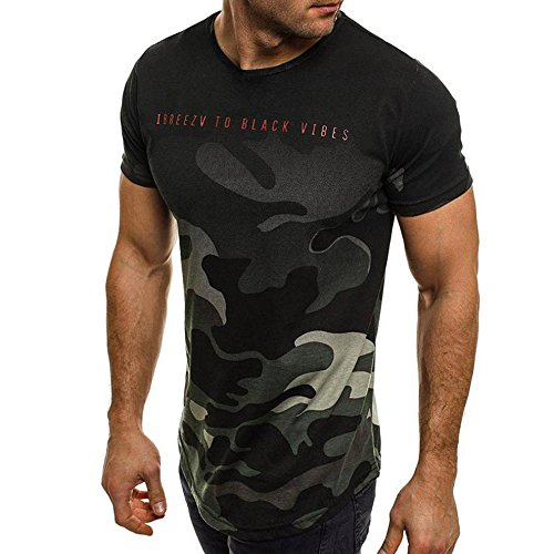 Men's O Neck Tees Fashion Casual Personality Camouflage Letter Print Slim Short-Sleeved Shirt Top Blouse